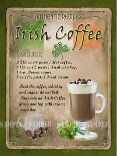 Irish Coffee Cocktail Ireland's culinary increase ensures that gifted cooks around the world are producing Liquor Drinks, Coffee Cocktails, Dessert Drinks, Cocktail Drinks, Yummy Drinks, Cocktail Recipes, Alcoholic Drinks, Beverages, Irish Coffee Ingredients