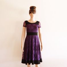 Purple Lace Dress.Dress With Sleeves by lynamobley2012 on Etsy, $68.00