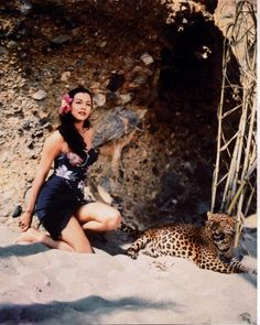 Leopard with Maria Montez
