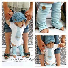 NEW Baby Boy Fall Baby Blue Herringbone Personalized Tie Bodysuit & Wood Button Leg Warmers SET.