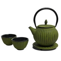 Miya Tokusa Round 28Ounce Cast Iron Teapot and Teacup Set w Strainer and Trivet Green ** Click image for more details.Note:It is affiliate link to Amazon. #AsianFoods