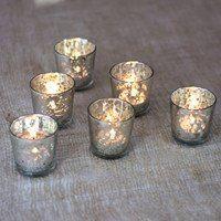 "Gold/Silver Mercury Glass Votive Candleholder 2.75""H vase"
