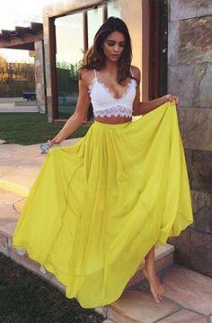 Two Piece Lace Prom Dress Chiffon Evening Dresses