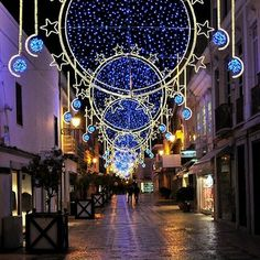A street decorated for Christmas in Faro, Portugal...