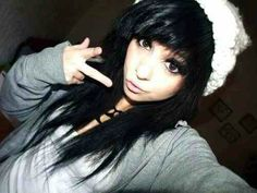 Emo Scene hair, awesome cut, N hair color!! Love the black. The beanie is cool aswell. ♡