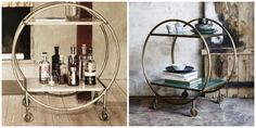 Barcart/Trolley in green marble and white marble with brass stand