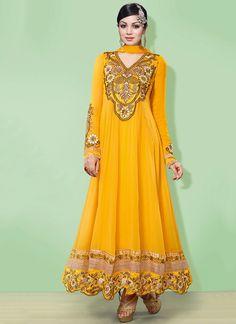 #AyeshaTakia Mustard Ankle Length #Anarkali Suit