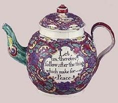 "This is my favorite creamware tea pot. I wish it were mine, but cannot find one like this original from Colonial Williamsburg.  ""Let us therefore follow after the things which make for Peace."" (Romans 14:19)"