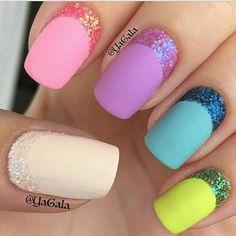 Pink purple blue green white glitter nails