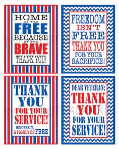 Red White And Blue Printable Veteran Military Patriotic Thank You Notes Thank You For Your Service Home Of The Free Because Of The Brave
