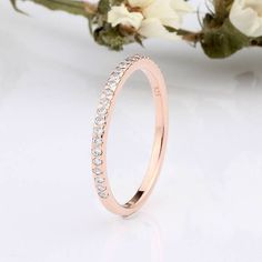 Rose Gold CZ Half Eternity Wedding Engagement Tiny Band Ring / Rose Gold Ring / Stackable Women Small Tiny Wedding Band / Ring Guard