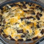 """EASY CRUSTLESS SAUSAGE QUICHE: Crumble ½ lb sweet Italian sausage & cook fully; drain well. Cook ¼ C Portobello mushrooms until soft. Beat 4 eggs, 1 C milk, dash of pepper together; pour into 9X9"""" pan. Add mushrooms, sausage, ½ sm can spinach {drained}, & 6 oz cheese {cheddar, mozzarella, pepper jack, etc.}; stir until combined. Sprinkle 2 oz cheese on top. Bake @ 350°F for 30-40 mins until set & bubbling around the edge."""