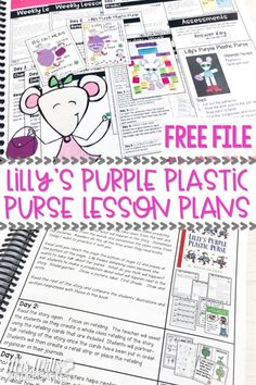 Free Lesson Plan for Lilly's Purple Plastic Purse.  This freebie includes detailed daily lesson plans, anchor charts, rubrics, reading response pages, crafts, and reading comprehension strategies for kindergarten and first grade.   Easy prep!   It also has a sentence study, vocabulary study, and grammar studies!   AWESOME!