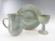 Smoky blue stoneware communion set  by TamarackStoneware