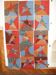 Recently I've been making a few quilts for the Aussie Hero Quilts project. The first one I made using the stack and slash tech. Quilting Tutorials, Quilting Projects, Star Quilt Blocks, Quilt Stitching, Bee, Scrap, Quilts, Blanket, Stone