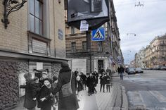 Leningrad 1941 / St.Petersburg 2012 Vosstaniya st./Kovenskiy st. Children of besieged Leningrad.