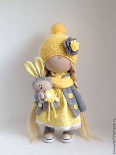 Куклы тыквоголовки ручной работы. Ярмарка Мастеров - ручная работа. Купить Интерьерная куколка. Handmade. Лимонный, кукла в подарок, хлопок