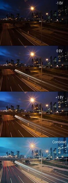 An under exposed (-1 EV), neutral exposed (0 EV), over exposed (+1 EV) and final image with all exposures combined