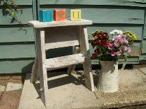 Shabby Chic Vintage Small Wooden Step Ladder by RoseGardenEmporium, £19.99