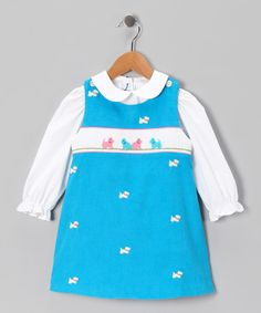 Take a look at this Blue Scotty Dog Corduroy Jumper & White Blouse - Infant & Toddler by Silly Goose on #zulily today!