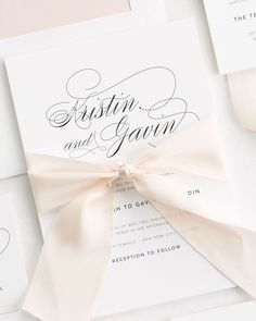 Clic Wedding Invitations With Gorgeous Script On Our Luxurious White Matte Paper Perfectly Tied