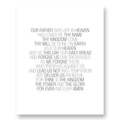 Image of The Lord's Prayer - Digital Print (White) Thy Kingdom Come, Thy Will Be Done, Lord's Prayer, Daily Bread, Forgiveness, Digital Prints, Prayers, Names, Image