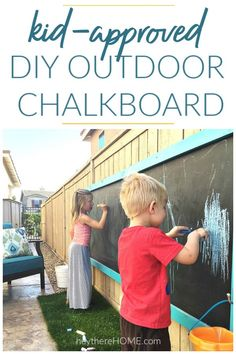 Make this giant outdoor chalkboard your kids will love! Step by step tutorial with photos.   #outdooractivities #chalkboard #preschoolactivities #sidewalkchalk  via @heytherehome