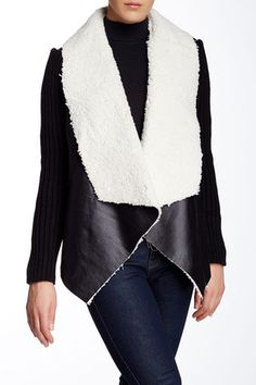 BCNI by Blanc Noir Faux Shearling Toggle Coat
