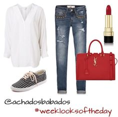 white shirt; jeans pants; sneakers; red purse