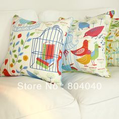 """Aliexpress.com : Buy Free P Wholesale Cotton Canvas IKEA Style Throw Pillow Case Decor Cushion Cover Square 18"""" / 45cm Colorfu Birdcage PE28 from Reliable cushion cover suppliers on Snowman's store"""