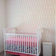 A DIY stenciled nursery accent wall using the Beads Allover Stencil.  http://www.cuttingedgestencils.com/beads-wall-stencil-pattern.html?utm_source=JCG&utm_medium=Pinterest&utm_campaign=Beads%20Allover%20Stencil