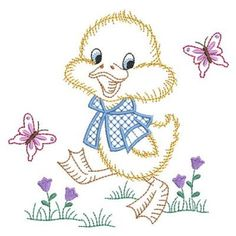 Vintage Baby Duck embroidery design