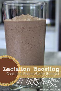 Chocolate Peanut Butter Banana Lactation Boosting Milkshake Time for Mom