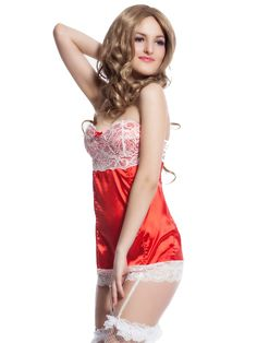 This sexy red babydoll has a white lace top,a mesh body outfit with crisscross back . Comes  with matching seductive g string panty this is a perfect dress of naughty romance.  #naughtyat9 #adultstore  #lingerie