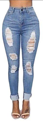 ainr Women High Waist Ripped Holes Stretch Pencil Jeans Denim Pants 1 L
