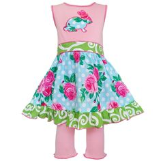 Baby girls Easter dress - AnnLoren Boutique Easter Rose Dot Bunny Dress and Capri Set