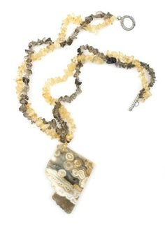 """Natural Artistic Huge 2 1/2"""" Stone Tan Brown Chunky Pendant with Yellow Golden Smoky Quartz Chip Gem Beads One of a Kind 18"""" Necklace Witch and Rich http://www.amazon.com/dp/B00R02Q7CQ/ref=cm_sw_r_pi_dp_d48jvb1KK1DCQ"""