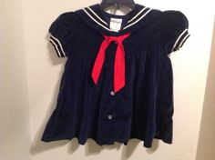 Toddler Girl Navy Blue 2t Velvet Sailor Dress Vintage Shirley Temple Style