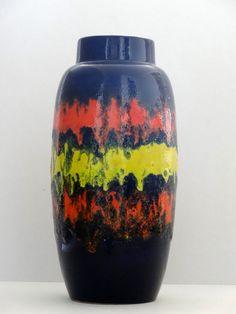 Scheurich Mid Century XL Navy Blue & Orange and Yellow Fat Lava West German Vase by PasterCorte on Etsy