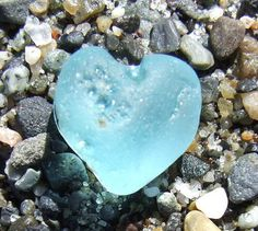 Beach Glass Aqua-Heart by Denmarkguy Heart In Nature, Heart Art, I Love Heart, Happy Heart, Heart Shaped Rocks, Sea Glass Beach, Love Symbols, Glass Jewelry, Sea Shells