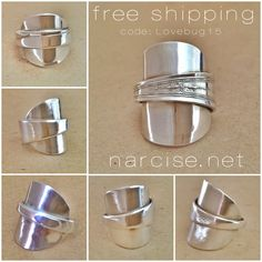 handcrafted jewelry from narcise.net. cuff bracelets, spoon rings, copper, silver, gold, shibuichi