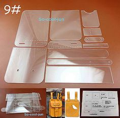 11pcs Leather Craft Acrylic Perspex Pocket Bag Pattern Stencil Template Tool Set