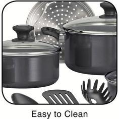 Cookware Set 15-Piece Nonstick Gray Pan Cooking Kitchen Utensils Dining Skillet  #Tramontina