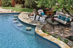 Pool With Swim Up Bar - Traditional - Pool - Other Metro - Keith Zars Pools what a good idea. People who dont want to swim and sit and talk with people in the pool Backyard Pool Designs, Small Backyard Pools, Swimming Pools Backyard, Swimming Pool Designs, Outdoor Pool, Backyard Landscaping, Backyard Ideas, Landscaping Ideas, Infinity Pool Backyard