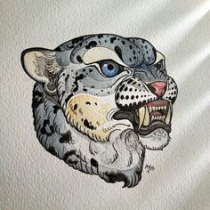 This #snowleopard painting was made by our student Ali. More of her work coming soon so keep looking!  SLC Ink Tattoo 1150 South Main Street Salt Lake City, Utah (801) 596-2061 slcinktattoo@gmail.com www.slctattoos.com