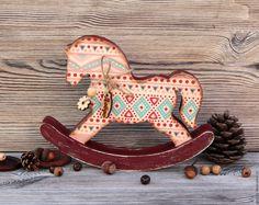 Купить Лошадка-качалка - голубой, лошадка-качалка, лошадка, лошадь игрушка, лошадки, Декупаж