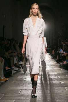 Tomas Maier presents his spring 2017 collection for the label, which is celebrating its 50th anniversary.