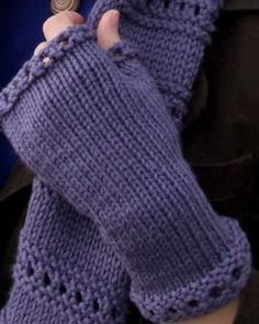Beginner Montgomery Fingerless Mitts.  Free pattern and good project to try using two circular needles.