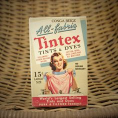 Vintage 1940s Tintex All Fabric Tints and Dyes Complete Box Conga Beige Color NOS Display Advertising Piece New York USA by Misinterpreted on etsy