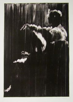 Working from a dark field by wiping and pulling away ink with mineral spirits & rags.  http://www.torusugita.net/art/monotype/monotype-figure1.html